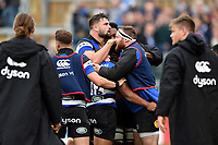 Bath Rugby players celebrate a try from team-mate Ben Tapuai. Aviva Premiership match, between Bath Rugby and Worcester Warriors on October 7, 2017 at the Recreation Ground in Bath, England. Photo by: Patrick Khachfe / Onside Images