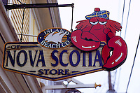 Shop Sign in Old Town Lunenburg, a UNESCO World Heritage Site, NS, Nova Scotia, Canada