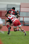 Federick Cain heads for the corner to score Papakura's first try. Counties Manukau Premier Club Rugby game between Papakura and Karaka played at Massey Park Papakura on Saturday May 5th 2018. Papakuar won the game 28 - 25 after trailing 6 - 12 at halftime.<br /> Papakura - Faalae Peni, Darryl Hemopo, George Crichton, Federick Cain tries, Faalae Peni conversion; Faalae Peni 2 penalties, Karaka -Salesitangi Savelio, Cardiff Vaega, Walter Fifita tries, Juan Benadie 2 conversions, Juan Benadie 2 penalties.<br /> Photo by Richard Spranger.