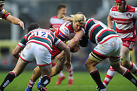 Richard Hibbard of Gloucester Rugby takes on the Leicester Tigers defence. Aviva Premiership match, between Leicester Tigers and Gloucester Rugby on February 11, 2017 at Welford Road in Leicester, England. Photo by: Patrick Khachfe / JMP