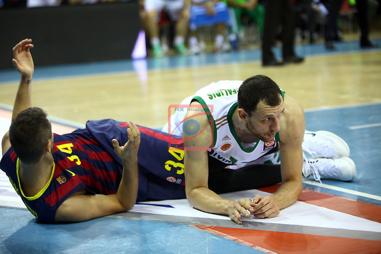 Euroleague Basketball-Regular Season Round 5.<br /> FC Barcelona vs Panathinaikos Athens: 78-69.<br /> Bostjan Nachbar &amp; Loukas Mavrokefalidis.