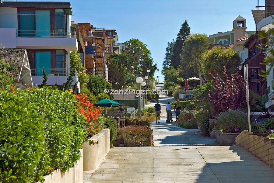 Manhattan Beach CA, Walk Street to Strand, southwestern, Los Angeles County, Santa Monica Bay, , quaint, alleyways, and, walk, streets, of the, Sand Section,