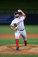 Scottsdale Scorpions pitcher Danny Rosenbaum (57) delivers a pitch during an Arizona Fall League game against the Salt River Rafters on October 13, 2015 at Salt River Fields at Talking Stick in Scottsdale, Arizona.  Salt River defeated Scottsdale 5-3.  (Mike Janes/Four Seam Images)