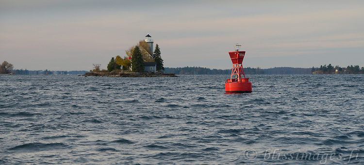 Approaching Sisters Island Lighthouse from the northeast in the St. Lawrence Seaway of the 1000 Islands, American side.
