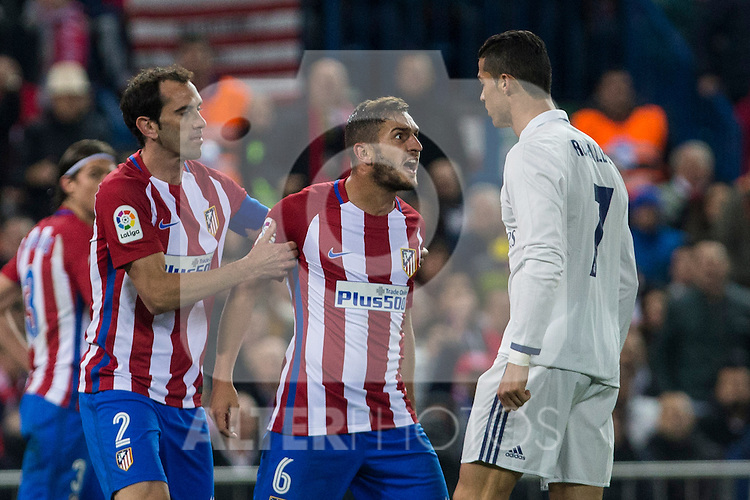 Atletico de Madrid's Diego Godin Koke Resurrecccion and Real Madrid's Cristiano Ronaldo  during the match of La Liga between Atletico de Madrid and Real Madrid at Vicente Calderon Stadium  in Madrid , Spain. November 19, 2016. (ALTERPHOTOS/Rodrigo Jimenez)