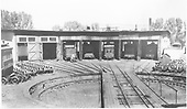 RGS roundhouse at Ridgway with 5 engines in house as listed above left to right.<br /> RGS  Ridgway, CO  Taken by Merritt, Paul - 8/15/1939