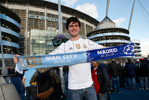 26.04.2016. The Etihad, Manchester, England. UEFA Champions League. Manchester City versus Real Madrid. A Real Madrid fan outside the Etihad Stadium before tonight's game.