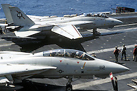 "- F 14 ""Tomcat"" fighter aircraft on Nimitz aircraft carrier....- aerei da caccia F 14 ""Tomcat"" a bordo della portaerei Nimitz.."