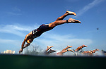 PUERTO VALLARTA, MEXICO - OCTOBER 23:   Matthew Chrabot of the USA and the rest of the athletes enter the water during the Triathlon competition on Day Eight of the XVI Pan American Games on October 23, 2011 in Puerto Vallarta, Mexico.  (Photo by Donald Miralle for Mexsport) *** Local Caption ***