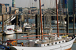 Harbour scenes in St Pauli area, on River Elbe,Hamburg , Germany.