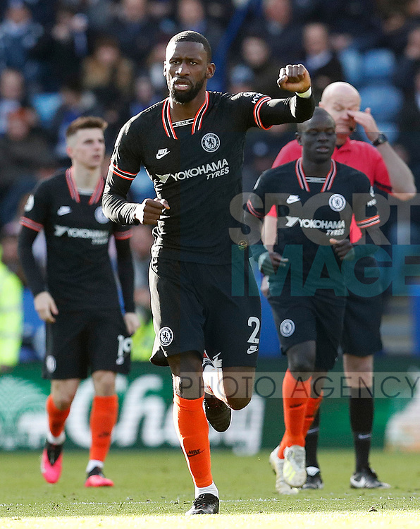 Antonio Rudiger of Chelsea celebrates his first goal against Leicester City during the Premier League match at the King Power Stadium, Leicester. Picture date: 1st February 2020. Picture credit should read: Darren Staples/Sportimage