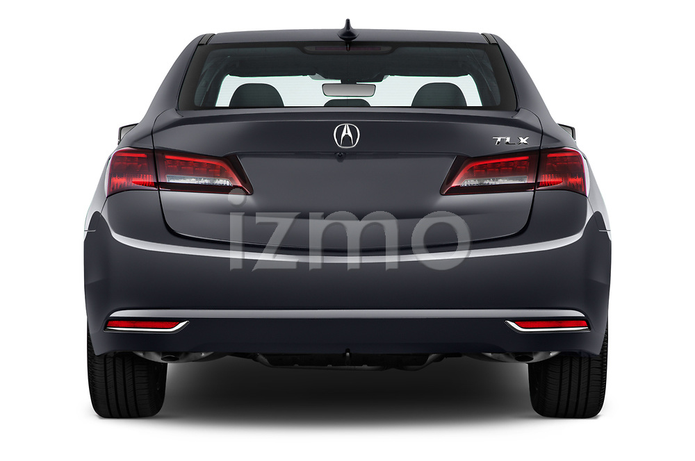 Straight rear view of 2015-2017 Acura TLX Technology 4 Door Sedan stock images