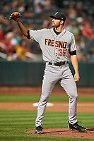 Fresno Grizzlies starting pitcher Kent Emanuel (35) during the game against the Salt Lake Bees  at Smith's Ballpark on September 3, 2017 in Salt Lake City, Utah. The Bees defeated the Grizzlies 10-8. (Stephen Smith/Four Seam Images)