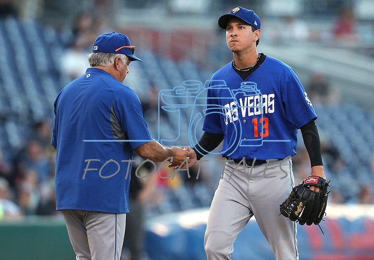 Las Vegas 51s Manager Wally Backman pulls pitcher Matt Bowman in a game against the Reno Aces in Reno, Nev., on Sunday, July 26, 2015.<br /> Photo by Cathleen Allison
