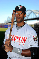Wisconsin Timber Rattlers outfielder Victor Roache #28 poses for a photo before a game against the Quad Cities River Bandits on May 24, 2013 at Modern Woodmen Park in Davenport, Iowa.  Quad Cities defeated Wisconsin 4-3  (Mike Janes/Four Seam Images)
