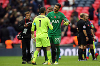 Paulo Gazzaniga of Tottenham Hotspur and Julian Speroni of Crystal Palace after Tottenham Hotspur vs Crystal Palace, Premier League Football at Wembley Stadium on 5th November 2017