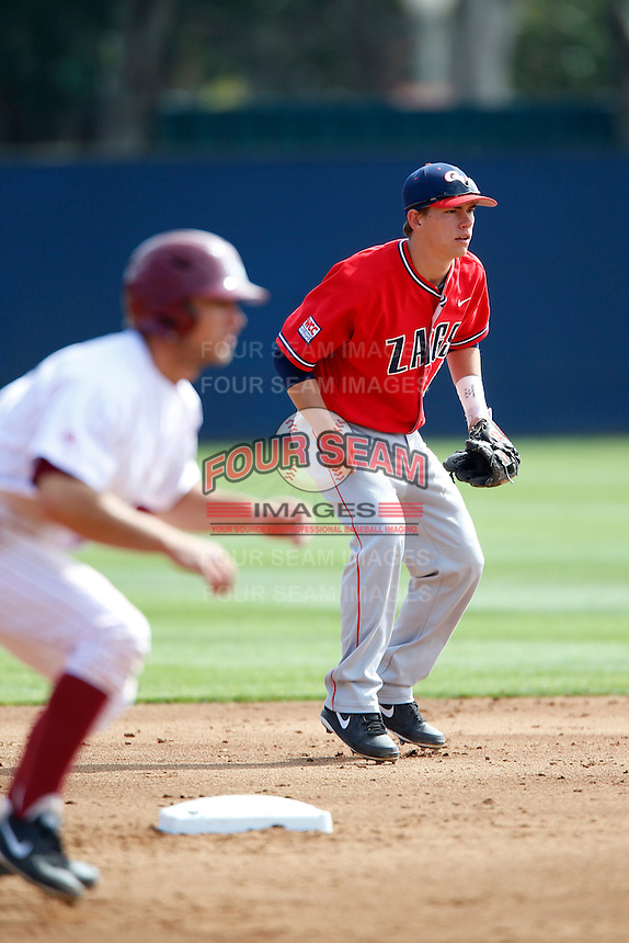 Caleb Wood #6 of the Gonzaga Bulldogs during a game against the Loyola Marymount Lions at Page Stadium on March 28, 2013 in Los Angeles, California. (Larry Goren/Four Seam Images)