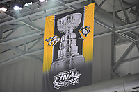 May 29, 2017: A Stanley Cup Finals banner hangs from the rafters at game one of the National Hockey League Stanley Cup Finals between the Nashville Predators  and the Pittsburgh Penguins, held at PPG Paints Arena, in Pittsburgh, PA. Pittsburgh defeats Nashville 5-3 in regulation time.  Eric Canha/CSM