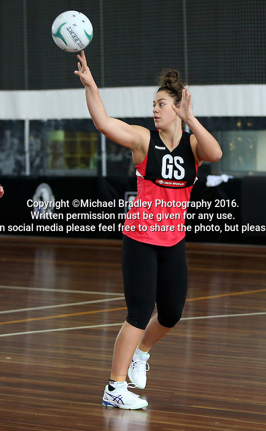 02.09.2016 Silver Ferns Mia Wilson during training in Melbourne Australia. Mandatory Photo Credit ©Michael Bradley.