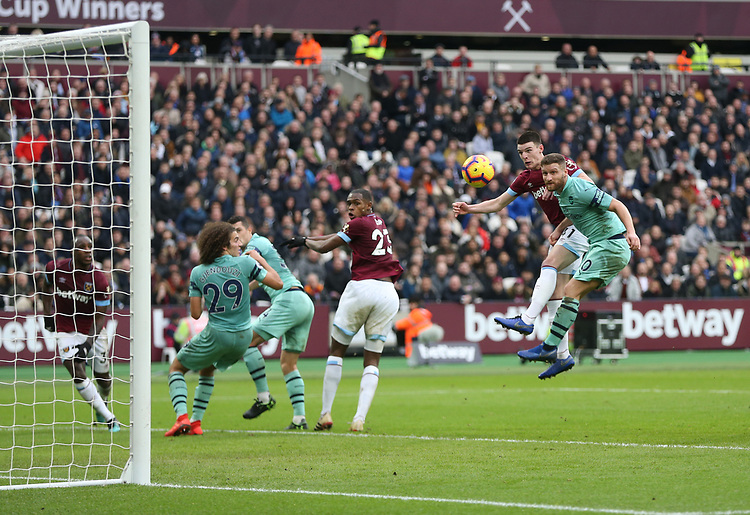 West Ham United's Declan Rice goes close with a first half header<br /> <br /> Photographer Rob Newell/CameraSport<br /> <br /> The Premier League - West Ham United v Arsenal - Saturday 12th January 2019 - London Stadium - London<br /> <br /> World Copyright © 2019 CameraSport. All rights reserved. 43 Linden Ave. Countesthorpe. Leicester. England. LE8 5PG - Tel: +44 (0) 116 277 4147 - admin@camerasport.com - www.camerasport.com