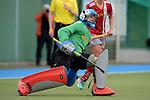 GER - Mannheim, Germany, April 22: During the German Hockey Bundesliga women match between Mannheimer HC (blue) and Club an der Alster (red) on April 22, 2017 at Am Neckarkanal in Mannheim, Germany. Final score 1-1 (HT 1-0).  Claudia Schueler #1 of Club an der Alster<br /> <br /> Foto &copy; PIX-Sportfotos *** Foto ist honorarpflichtig! *** Auf Anfrage in hoeherer Qualitaet/Aufloesung. Belegexemplar erbeten. Veroeffentlichung ausschliesslich fuer journalistisch-publizistische Zwecke. For editorial use only.