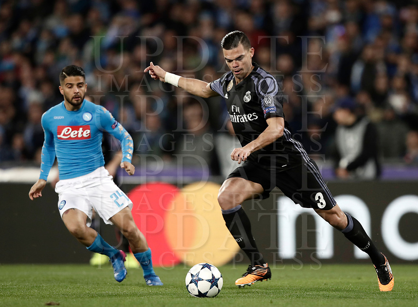 Football Soccer: UEFA Champions League Round of 16 second leg, Napoli-Real Madrid, San Paolo stadium, Naples, Italy, March 7, 2017. <br /> Real Madrid's Pepe (r) in action with Napoli's Lorenzo Insigne (l) during the Champions League football soccer match between Napoli and Real Madrid at the San Paolo stadium, 7 March 2017. <br /> Real Madrid won 3-1 to reach the quarter-finals.<br /> UPDATE IMAGES PRESS/Isabella Bonotto