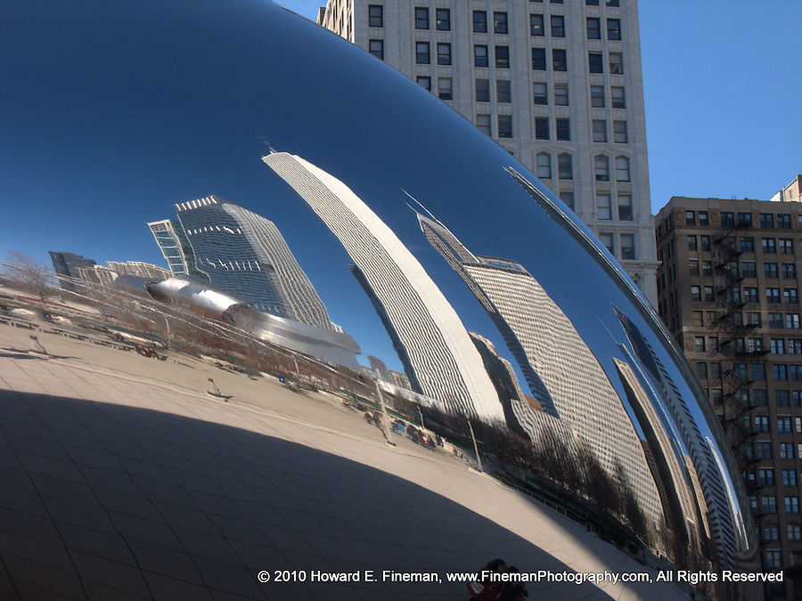 """Cloud Gate 7, Millenium Park. Known as """"The Bean"""" by Chicago residents, this public sculpture by Anish Kapoor fascinates its many visitors with distorted views of the skyline and the visitors, often in combination."""