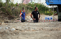 Pictured: A forensic archaeologist and a worker work at the second site in Kos, Greece. Tuesday 11 October 2016<br /> Re: Police teams led by South Yorkshire Police are searching for missing toddler Ben Needham on the Greek island of Kos.<br /> Ben, from Sheffield, was 21 months old when he disappeared on 24 July 1991 during a family holiday.<br /> Digging has begun at a new site after a fresh line of inquiry suggested he could have been crushed by a digger.