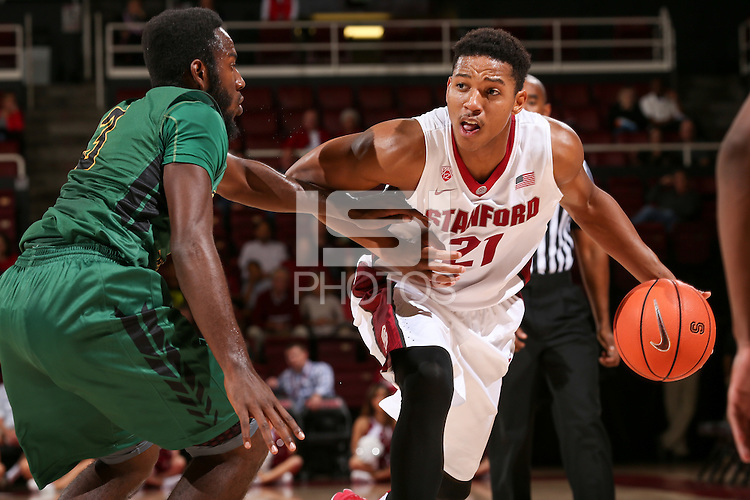 STANFORD, CA - November 6, 2014: Stanford Cardinal vs Cal Poly Pomona Broncos at Maples Pavilion.  The Cardinal beat the Broncos 79-76.
