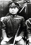 Takijiro Onishi (2 June 1891 - 16 August 1945) was an admiral in the Imperial Japanese Navy during World War II, who came to be known as the father of the kamikaze. At the end of the War Onishi committed ritual suicide (seppuku) in his quarters following the surrender of Japan. In his suicide note he apologized to the approximately 4,000 pilots whom he had sent to their deaths, and urged all young civilians who had survived the war to work towards rebuilding Japan and peace among nations.(Photo by Kingendai Photo Library/AFLO)