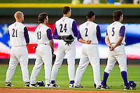 (L-R) Brady Shoemaker #21, Carlos Sanchez #13, Trayce Thompson #24, Marcus Semien #2 and Daniel Wagner #5 of the Winston-Salem Dash during the National Anthem prior to the Carolina League game against the Potomac Nationals at BB&T Ballpark on June 13, 2012 in Winston-Salem, North Carolina.  The Dash defeated the Nationals 5-3.  (Brian Westerholt/Four Seam Images)