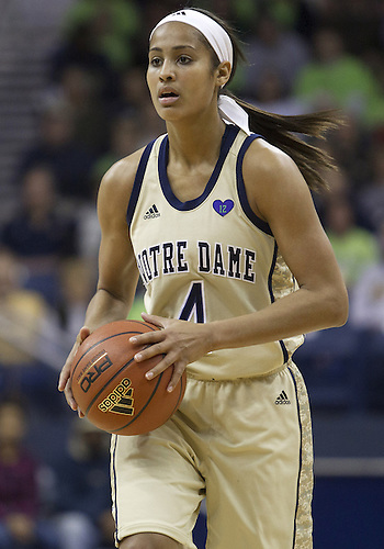November 18, 2012:  Notre Dame guard Skylar Diggins (4) during NCAA Women's Basketball game action between the Notre Dame Fighting Irish and the Massachusetts Minutewomen at Purcell Pavilion at the Joyce Center in South Bend, Indiana.  Notre Dame defeated Massachusetts 94-50.