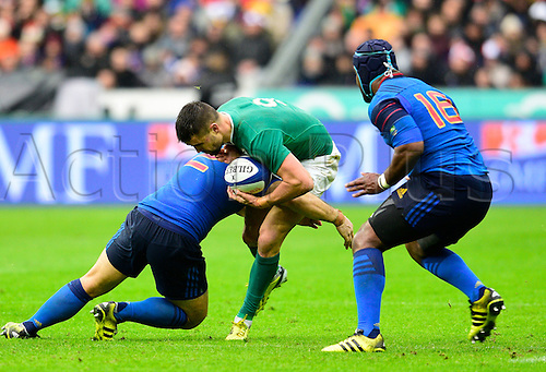 13.02.2016. Stade de France, Paris, France. 6 Nations Rugby international. France versus Ireland.  Conor Murray ( Ireland ) tackled by Guilhem Guirado ( France )