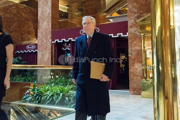 Senate Majority Leader Mitch McConnell is seen upon his arrival at Trump Tower in New York, NY, USA on January, 9, 2017. <br /> Credit: Albin Lohr-Jones / Pool via CNP /MediaPunch
