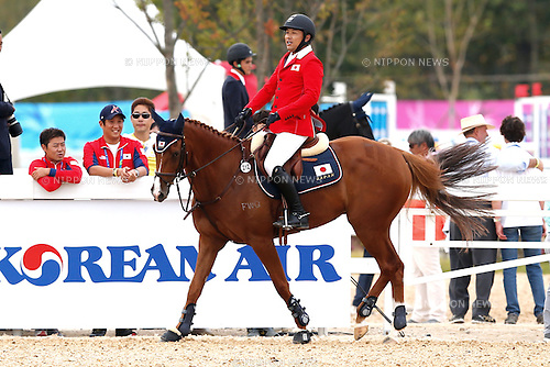 Takanori Kusunoki (JPN), <br /> SEPTEMBER 26, 2014 - Equestrian : <br /> Eventing Individual Jumping <br /> at Dream Park Equestrian Venue <br /> during the 2014 Incheon Asian Games in Incheon, South Korea. <br /> (Photo by AFLO SPORT)