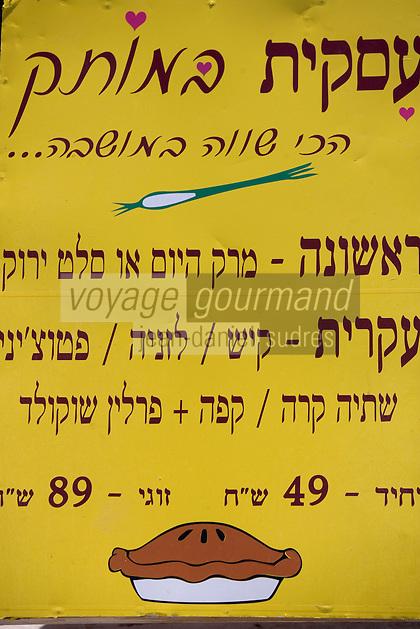 Asie/Israël/Galilée/Zichron Yaacov: enseigne menu d'un restaurant de la rue Haeyasdim