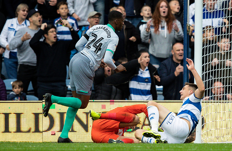 Blackburn Rovers' goalkeeper Christian Walton (centre) is injured in a collision with Queens Park Rangers' Jordan Hugill (right) <br /> <br /> Photographer Andrew Kearns/CameraSport<br /> <br /> The EFL Sky Bet Championship - Queens Park Rangers v Blackburn Rovers - Saturday 5th October 2019 - Loftus Road - London<br /> <br /> World Copyright © 2019 CameraSport. All rights reserved. 43 Linden Ave. Countesthorpe. Leicester. England. LE8 5PG - Tel: +44 (0) 116 277 4147 - admin@camerasport.com - www.camerasport.com