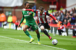 John Fleck of Sheffield Utd  is tackled by Daniel Johnson of Preston North End during the Championship league match at Bramall Lane Stadium, Sheffield. Picture date 28th April, 2018. Picture credit should read: Harry Marshall/Sportimage