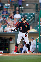 Rochester Red Wings right fielder Jon Kremmer (23) at bat during a game against the Lehigh Valley IronPigs on September 1, 2018 at Frontier Field in Rochester, New York.  Lehigh Valley defeated Rochester 2-1.  (Mike Janes/Four Seam Images)