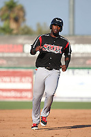 Franmil Reyes (34) of the Lake Elsinore Storm runs the bases during a game against the Inland Empire 66ers at San Manuel Stadium on July 31, 2016 in San Bernardino, California. Inland Empire defeated Lake Elsinore, 8-7. (Larry Goren/Four Seam Images)