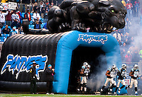 The Carolina Panthers are introduced against the Denver Broncos during an NFL football game at Bank of America Stadium in Charlotte, NC.