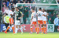 Blackpool's Armand Gnanduillet, John O'Sullivan, Curtis Tilt and Nathan Delfouneso celebrate their sides win<br /> <br /> Photographer Kevin Barnes/CameraSport<br /> <br /> The EFL Sky Bet League One - Plymouth Argyle v Blackpool - Saturday 15th September 2018 - Home Park - Plymouth<br /> <br /> World Copyright &copy; 2018 CameraSport. All rights reserved. 43 Linden Ave. Countesthorpe. Leicester. England. LE8 5PG - Tel: +44 (0) 116 277 4147 - admin@camerasport.com - www.camerasport.com