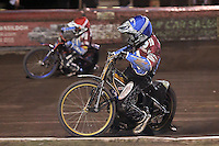 Heat 10: Davey Watt (red) and Kim Nilsson - Lakeside Hammers vs Peterborough Panthers - Sky Sports Elite League Speedway at Arena Essex Raceway, Purfleet - 14/09/12 - MANDATORY CREDIT: Gavin Ellis/TGSPHOTO - Self billing applies where appropriate - 0845 094 6026 - contact@tgsphoto.co.uk - NO UNPAID USE.