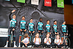 Vital Concept-B&amp;B Hotel team introduced on stage before the start of Stage 1 of the 2019 Tour de Yorkshire, running 178.5km from Doncaster to Selby, Yorkshire, England. 2nd May 2019.<br /> Picture: ASO/SWPix | Cyclefile<br /> <br /> All photos usage must carry mandatory copyright credit (&copy; Cyclefile | ASO/SWPix)