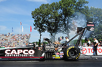 Jun. 3, 2012; Englishtown, NJ, USA: NHRA top fuel dragster driver Steve Torrence during the Supernationals at Raceway Park. Mandatory Credit: Mark J. Rebilas-