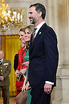 (L-R) Spanish Royals Princess Elena, Princess Letizia and Prince Felipe receive International Olympic Committee Evaluation Commission Team for a dinner at the Royal Palace.March 20,2013. (ALTERPHOTOS/Pool)
