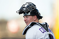 Winston-Salem Dash catcher Zack Collins (8) prior to the game against the Buies Creek Astros at BB&T Ballpark on April 13, 2017 in Winston-Salem, North Carolina.  The Dash defeated the Astros 7-1.  (Brian Westerholt/Four Seam Images)