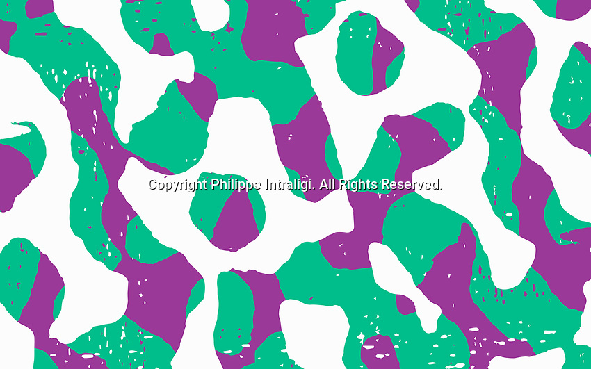Abstract merging green and purple squiggle pattern