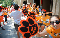 O-Team welcomes incoming first-years during Orientation at the start of the fall semester, August 24, 2013 at Occidental College. (Photo by Marc Campos, Occidental College Photographer)