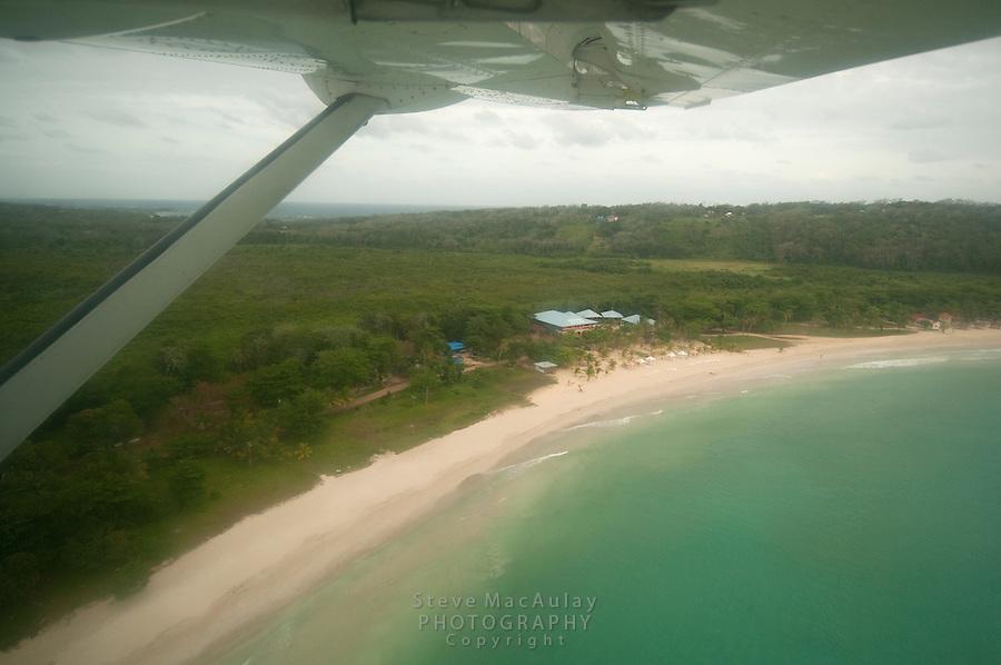 Picnic Center Beach, Hotel Arenas aerial view, Big Corn Island, Nicaragua